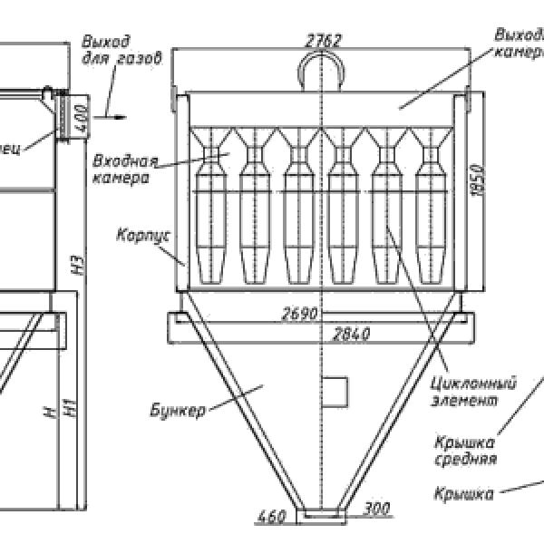 Циклон БЦ-512-Р-6-(12х12)